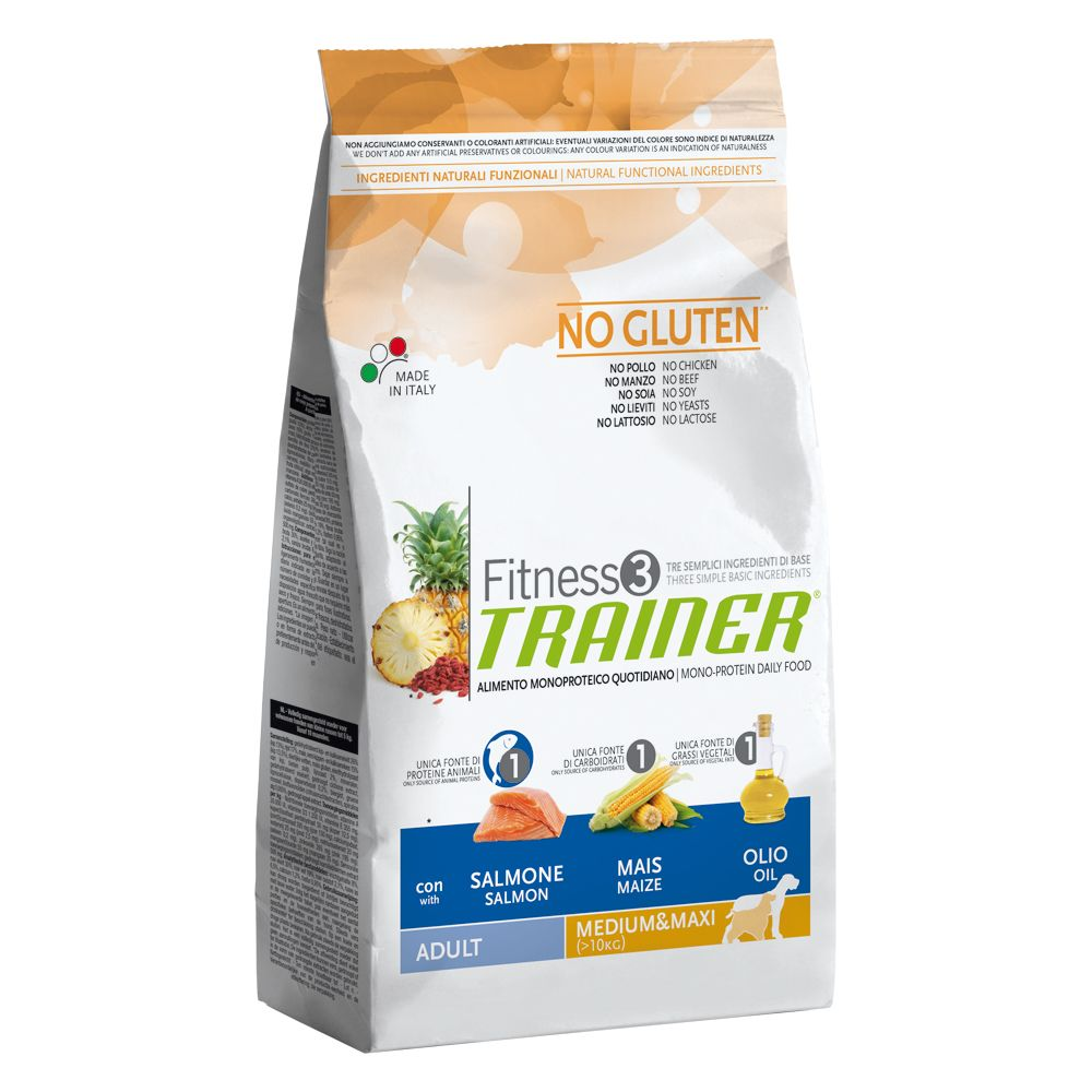 Foto Trainer Fitness 3 Adult Medium/Maxi No Gluten Salmone & Mais - 2 x 12,5 kg - prezzo top! Fitness 3 - Size Medium & Maxi