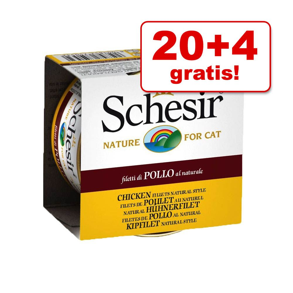 Image of 20 + 4 gratis! 24 x 85 g Schesir in Acqua di cottura - Tonnetto con filetti di Pollo