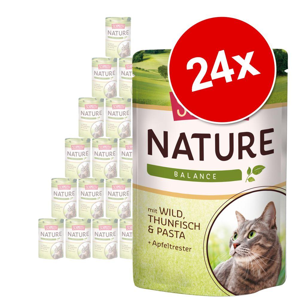 Megapakiet Schmusy Nature Balance w saszetkach, 24 x 100 g - Wołowina, drób, ryż i ekstrakt z granatu