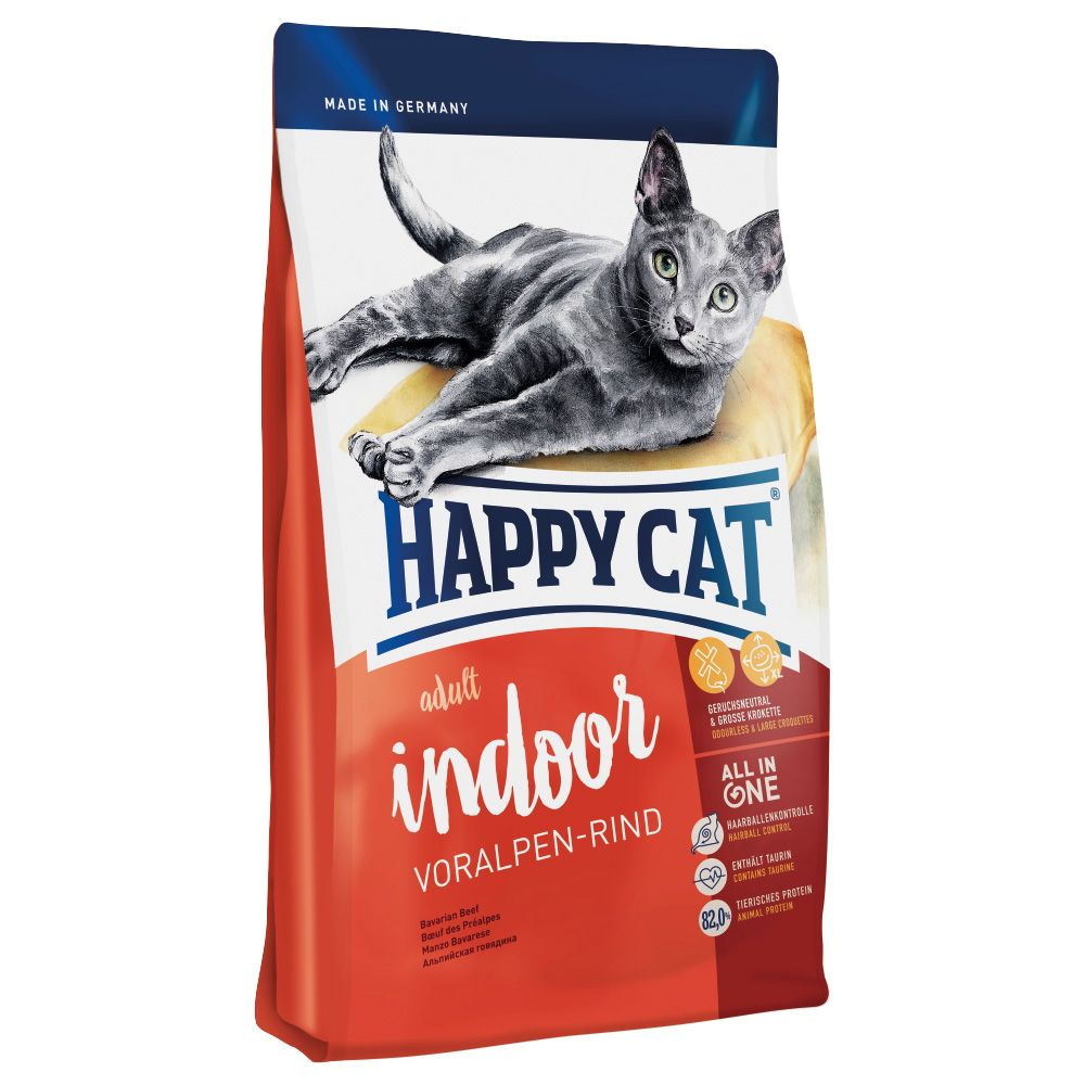 Happy Cat Indoor Adult Beef Dry Food - Economy Pack: 2 x 4kg