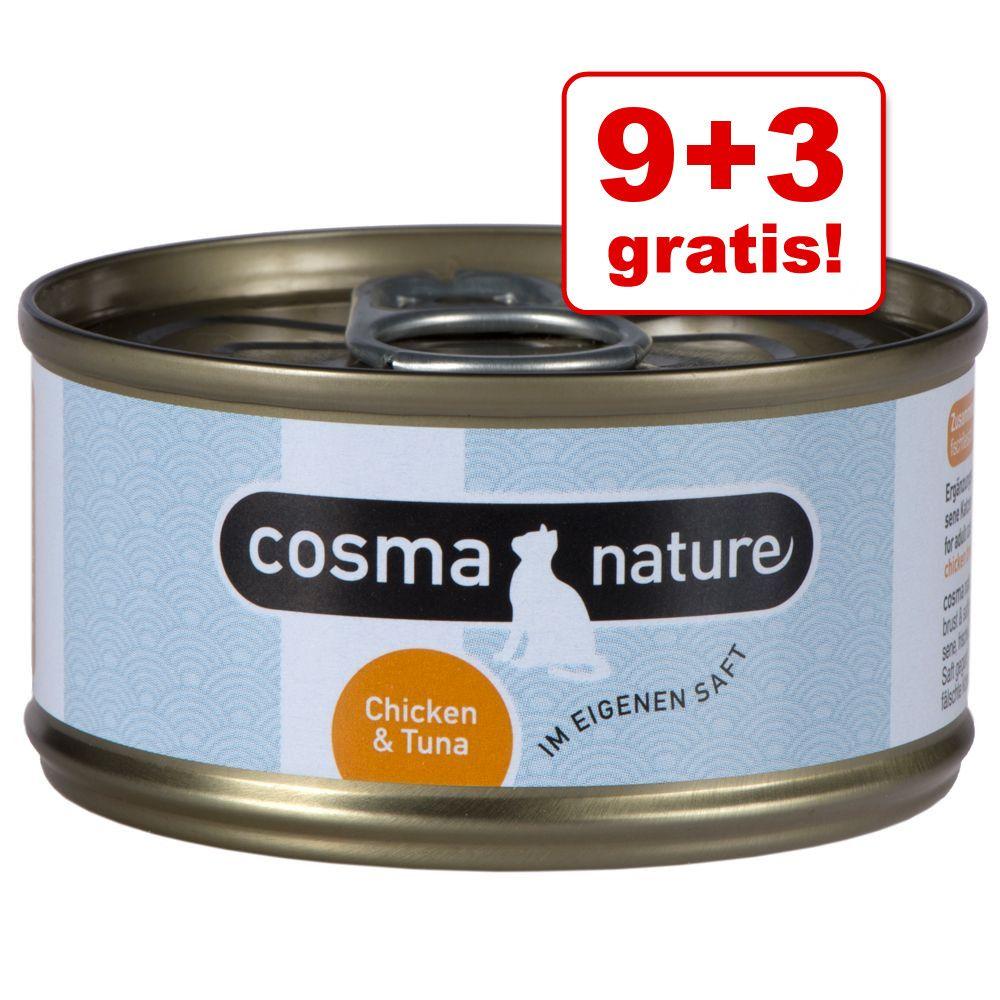 9 + 3 gratis! Cosma Nature, 12 x 70 g - Pierś z kurczaka i krewetki