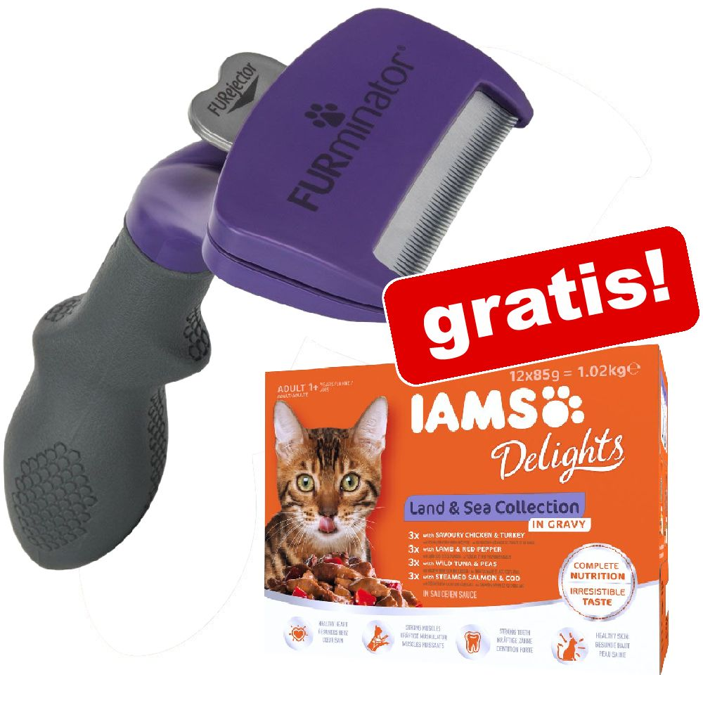 FURminator DeShedding Tool für Katzen + 12 x 85 g IAMS Nassfutter gratis! - Große Katze / Langhaar