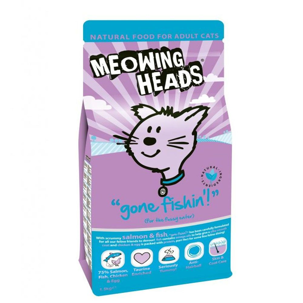 Meowing Heads Gone Fishin Adult White Fish & Chicken - Economy Pack: 2 x 1.5kg