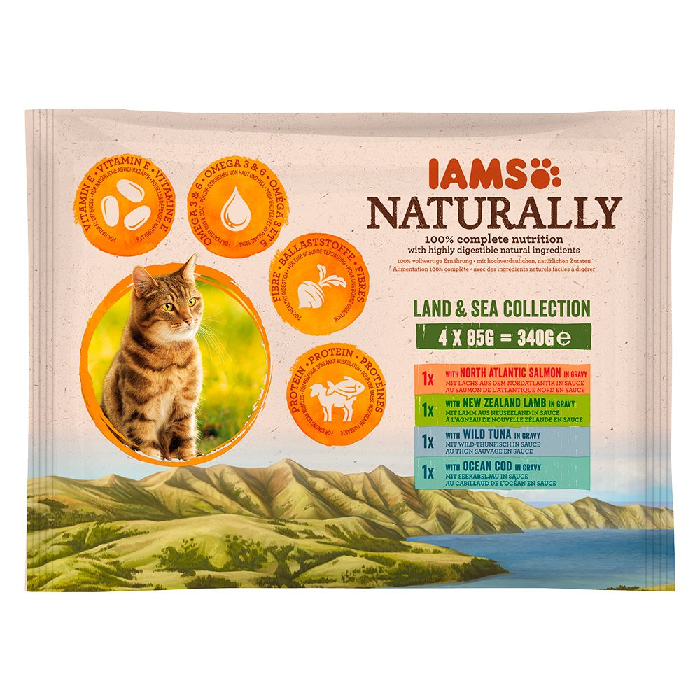 IAMS Naturally Cat Adult Mix - 4 x 85 g