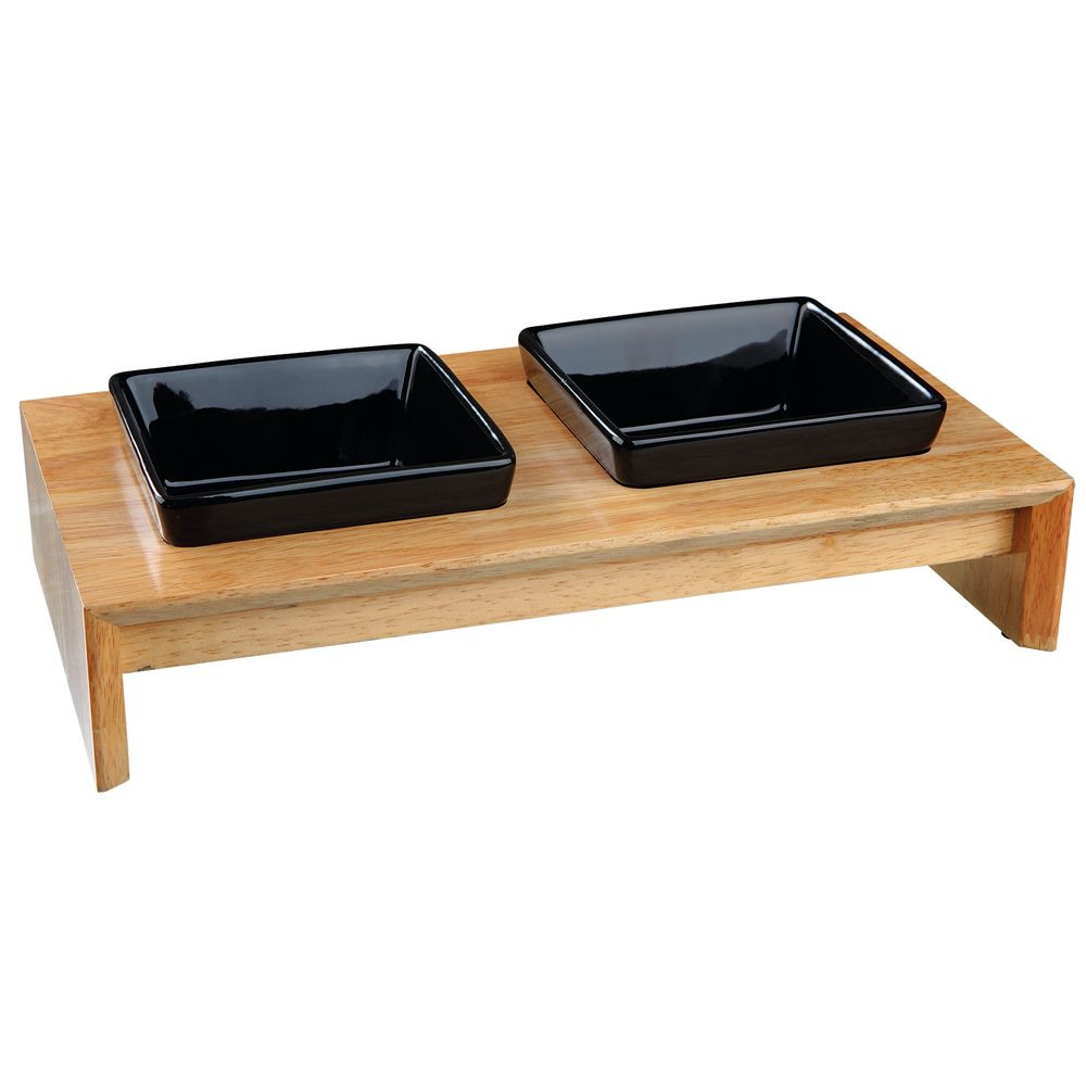 Trixie Ceramic & Wood Feeding Bowl Set - 2 x 0.4 litre