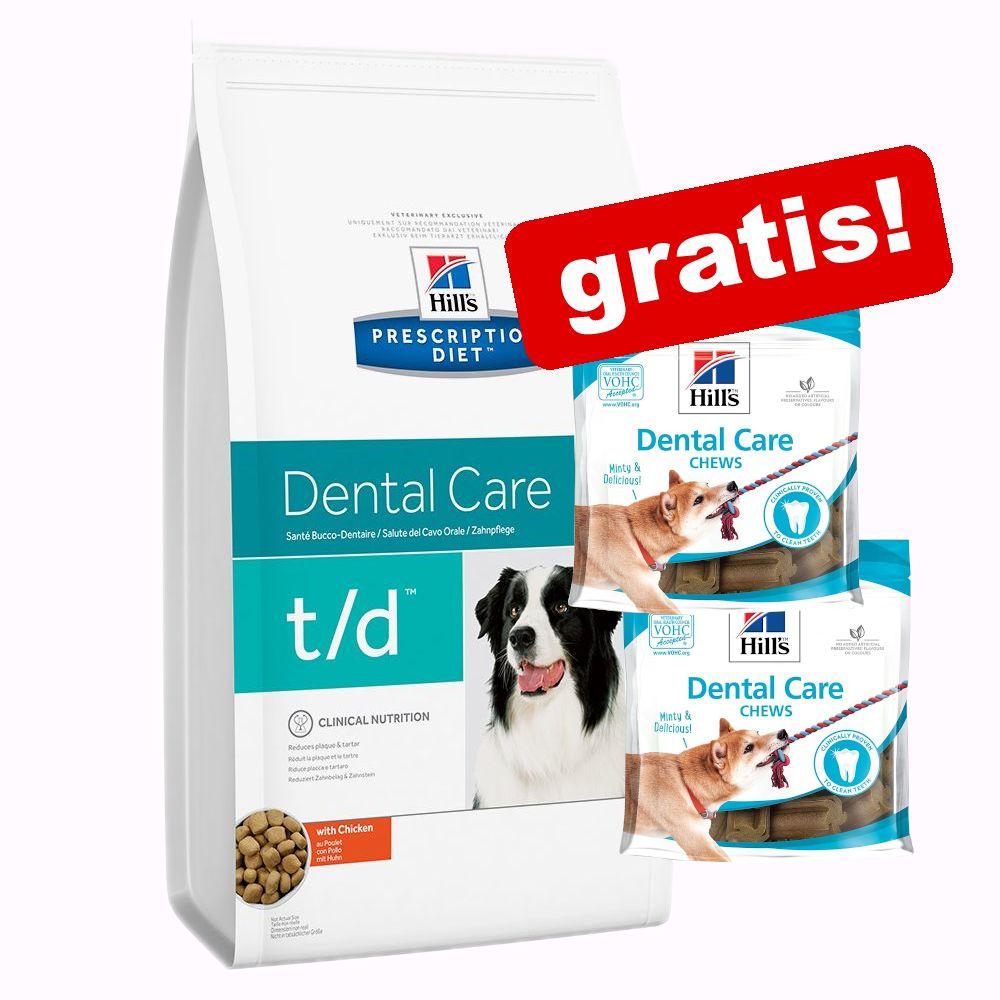 Großgebinde Hill's Prescription Diet + 2 x Hill's Hundesnacks gratis! - 10 kg t/d Dental Care mit Huhn + 2 x 170 g Dental Care Snacks