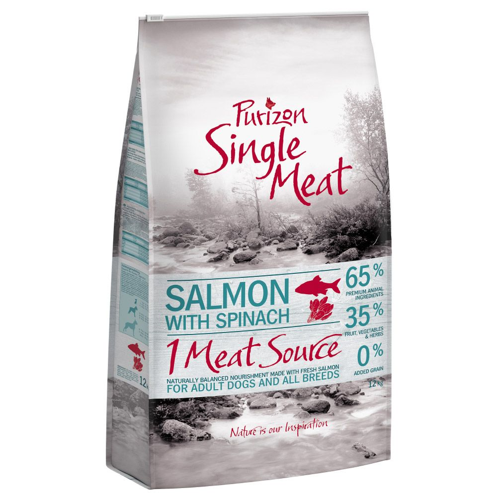Purizon Single Meat Adult Salmon & Spinach - spannmålsfritt - Ekonomipack: 2 x 12 kg