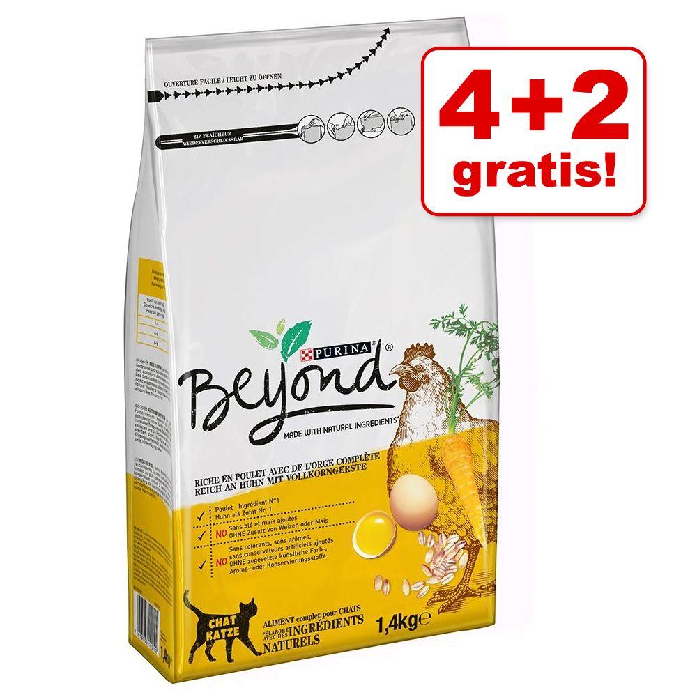 4 + 2 på köpet! 6 x 1,4 kg Beyond kattfoder - Rich on Chicken