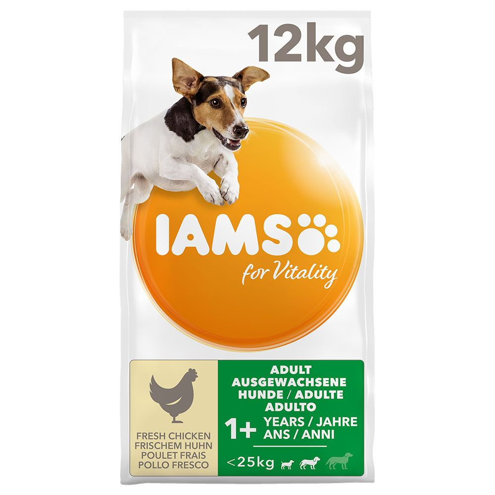 2x12kg Small & Medium Adult Chicken for Vitality IAMS Dry Dog Food