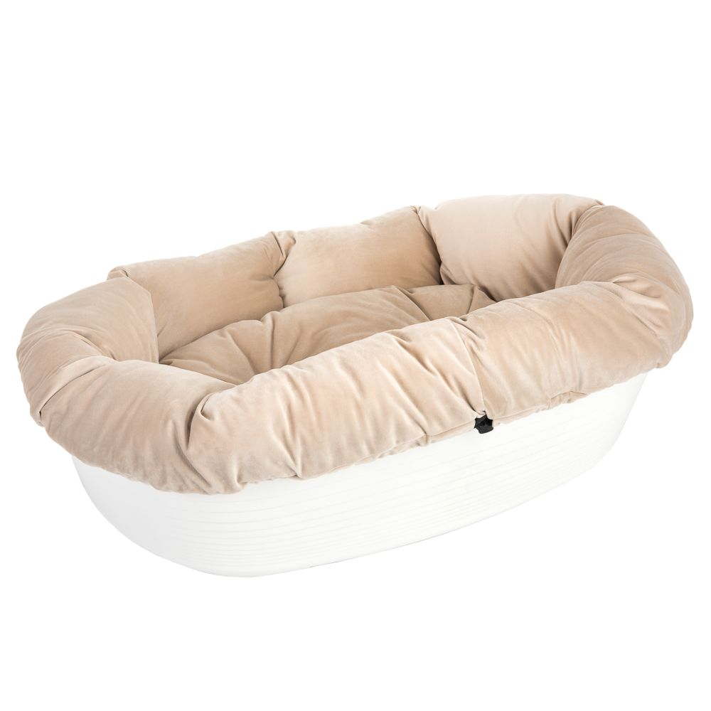 Ferplast Siesta Deluxe White Dog Basket with Cover - Beige Size 4
