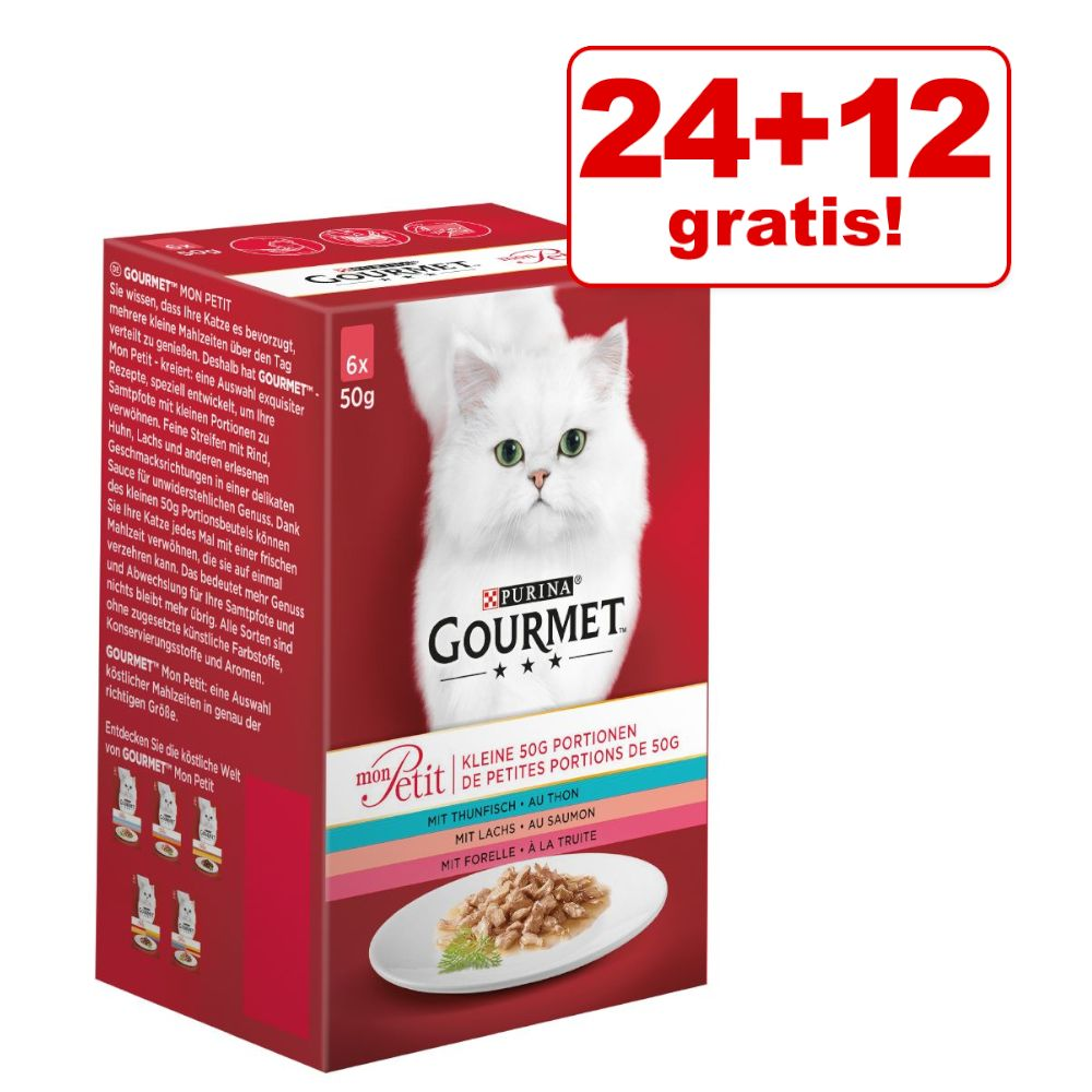 24 + 12 på köpet! 36 x 50 g Gourmet Mon Petit Mix - Blandpack kött