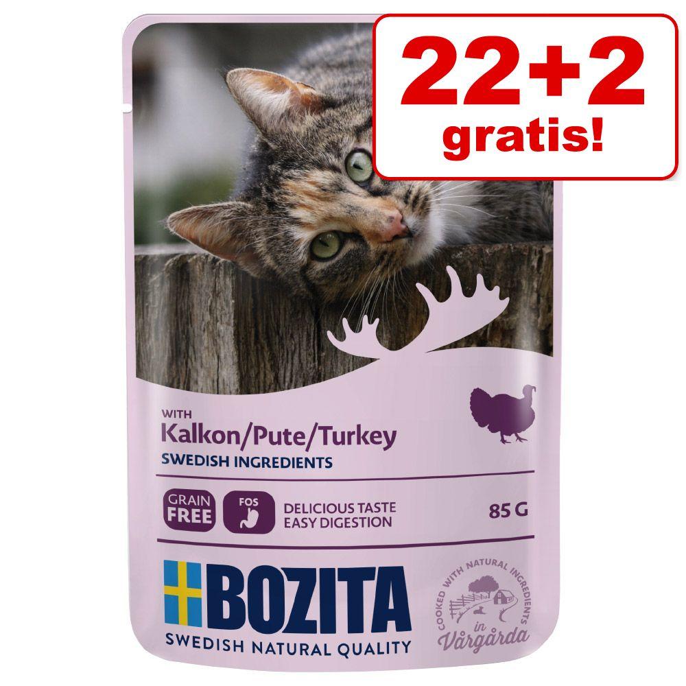 22 + 2 på köpet! 24 x 85 g Bozita bitar i sås Pouch - Kalkon