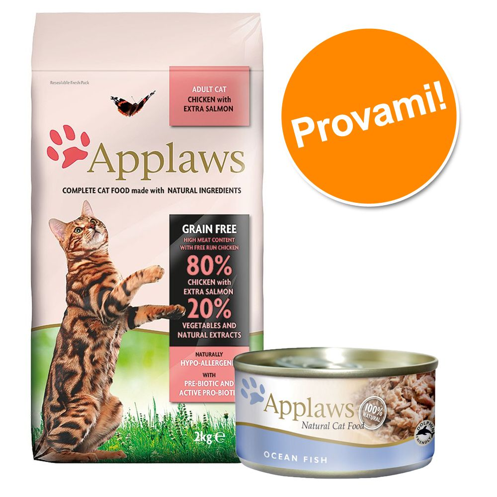 Foto Set prova misto Applaws 2 kg secco + 6 lattine umido - 2 kg Gattini + 6 x 70 g Kitten Pacco misto