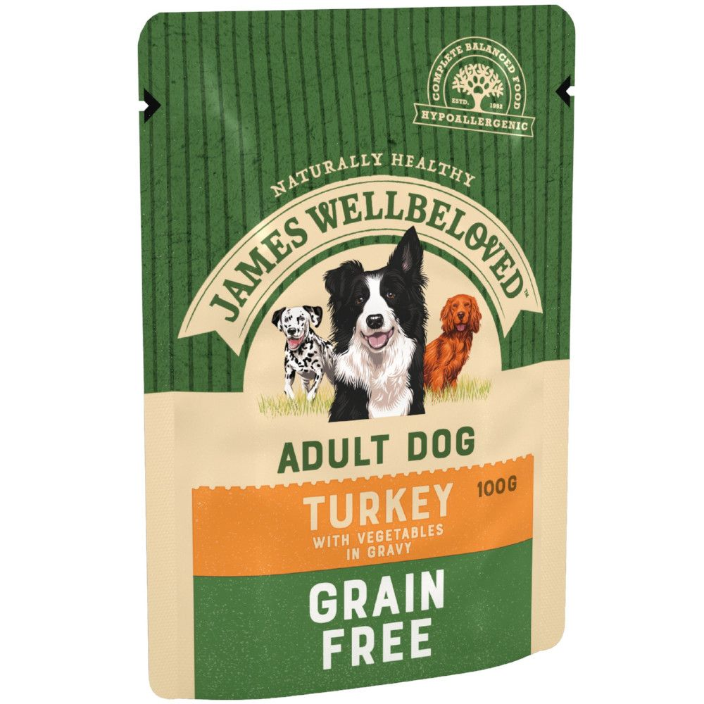 Turkey & Vegetables Grain-Free Adult Pouches James Wellbeloved Wet Dog Food