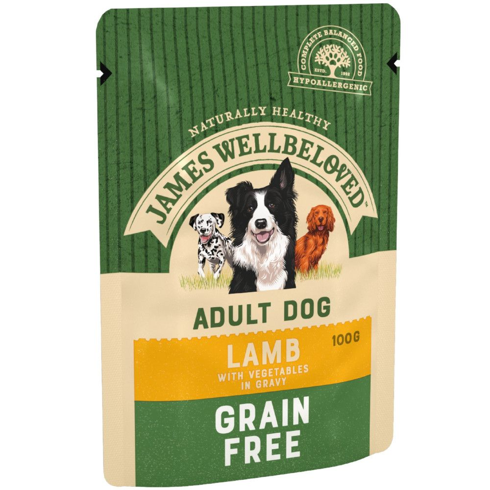 48x100g Lamb & Vegetables Grain-Free Adult Pouches James Wellbeloved Wet Dog Food