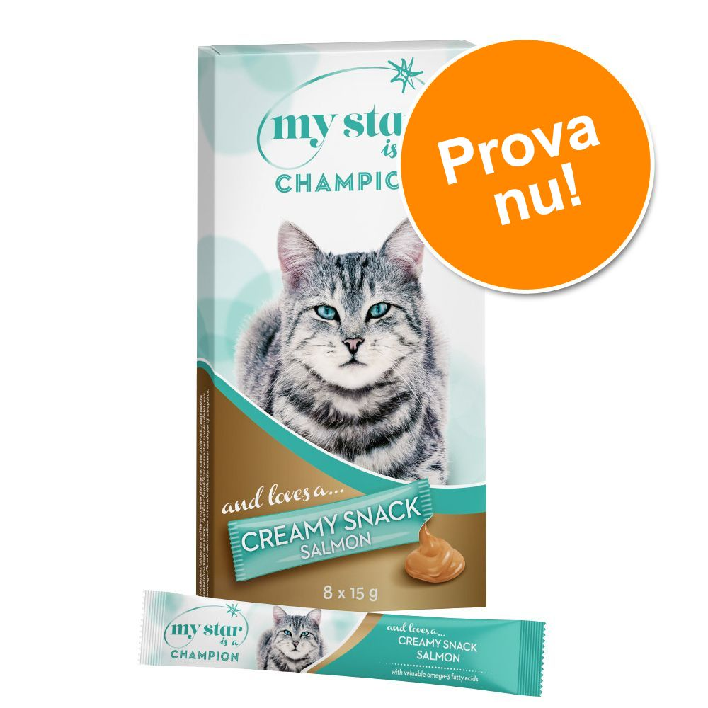 8 x 15 g My Star Creamy Snack till prova-på-pris! - My Star is a Champion - Salmon Creamy Snack