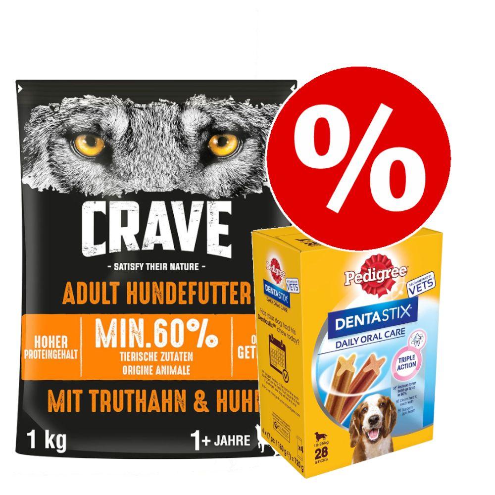 1 kg Crave Trockenfutter + 28x Pedigree Dentastix zum Sonderpreis! - Adult mit Lamm & Rind + Dentastix für kleine Hunde