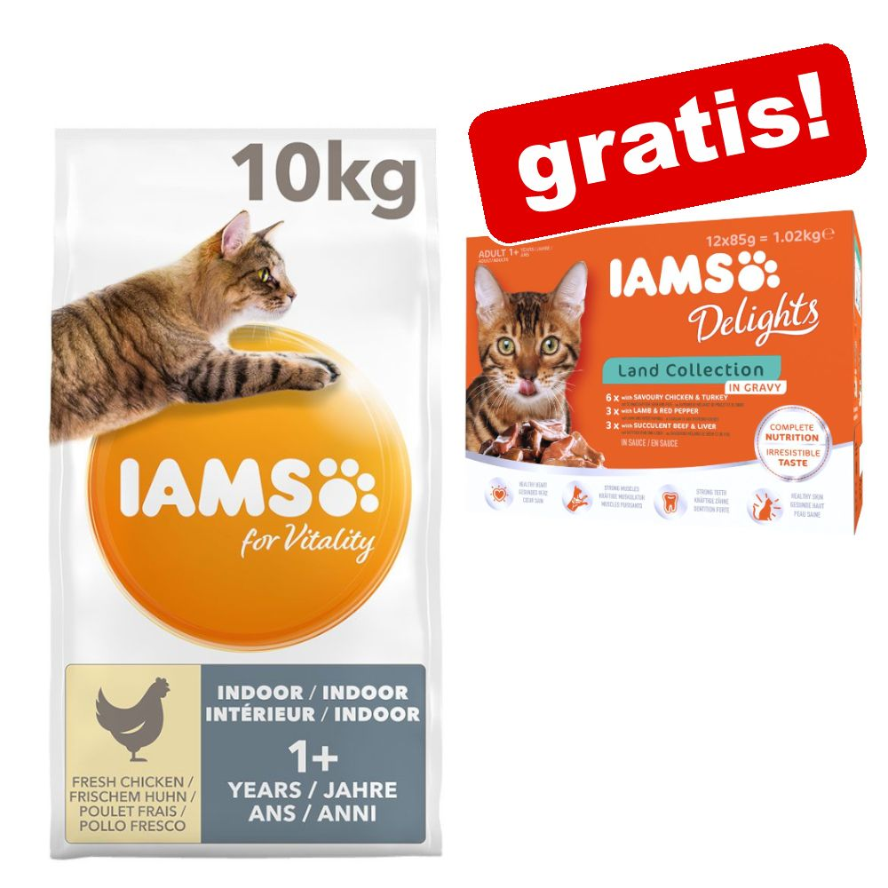 10 kg IAMS for Vitality + 12 x 85 g Delights in Sauce på köpet! - Adult Chicken