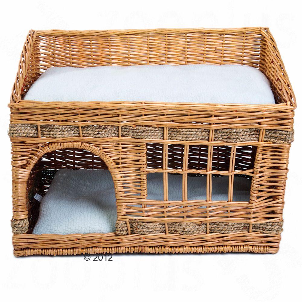 Chat Panier lit couverture Niche Niche pour chat en osier