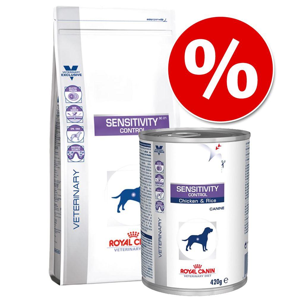 Blandpack: Royal Canin Vet Diet + passande Vet Diet våtfoder! - Sensitivity: 14 kg torrfoder + 12 x 420 g våtfoder