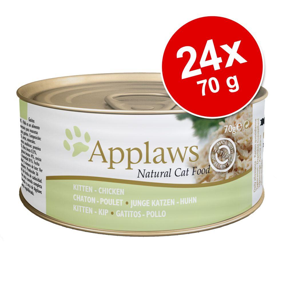 Ekonomipack: Applaws Kitten kattmat 24 x 70 g - Blandpack Kyckling + Tonfisk