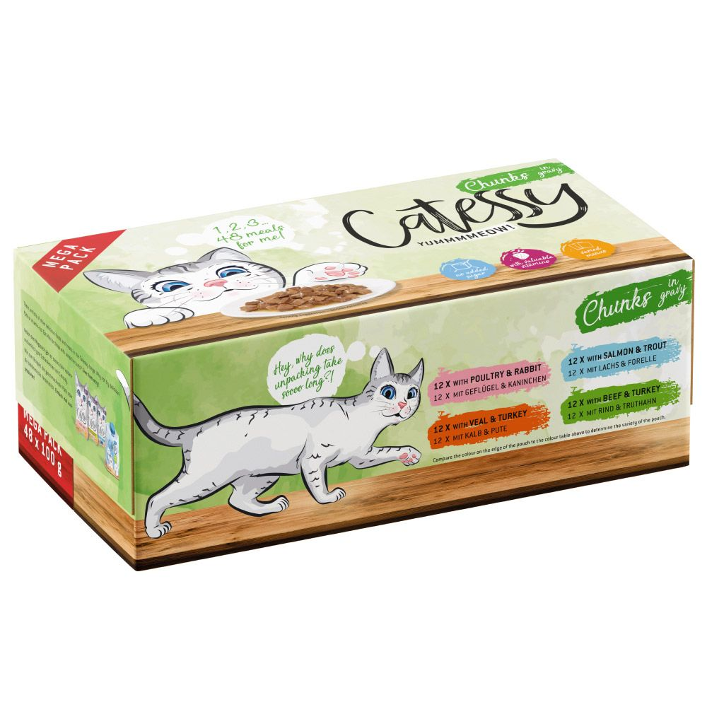 48x100g Chunks in Vegetables or Egg Jelly Catessy Wet Cat Food