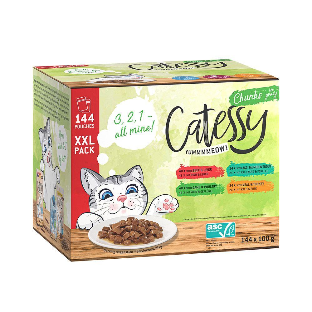 144x100g Pack XXL 4 variétés de bouchées en gelée Catessy - Pâtée pour chat