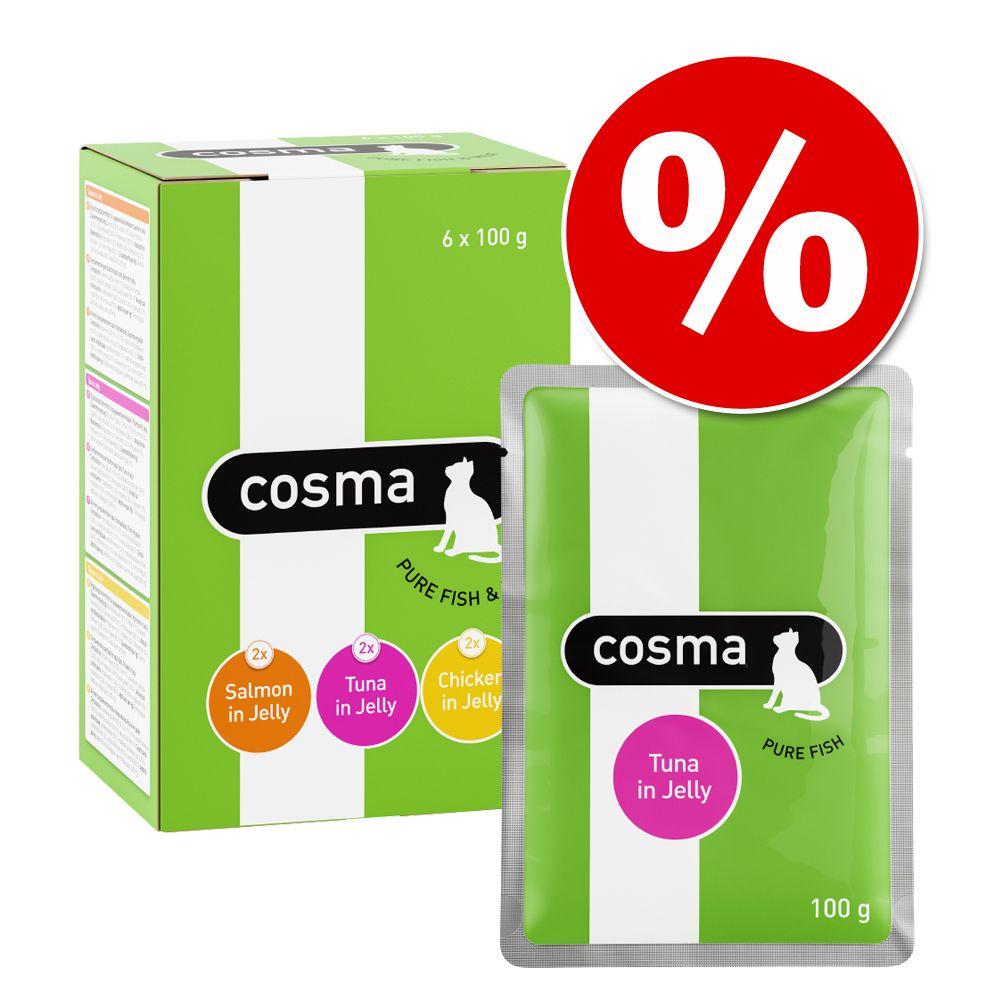 Ekonomipack: Cosma Original blandpack i portionspåse 48 x 100 g - Tonfisk, kyckling, lax