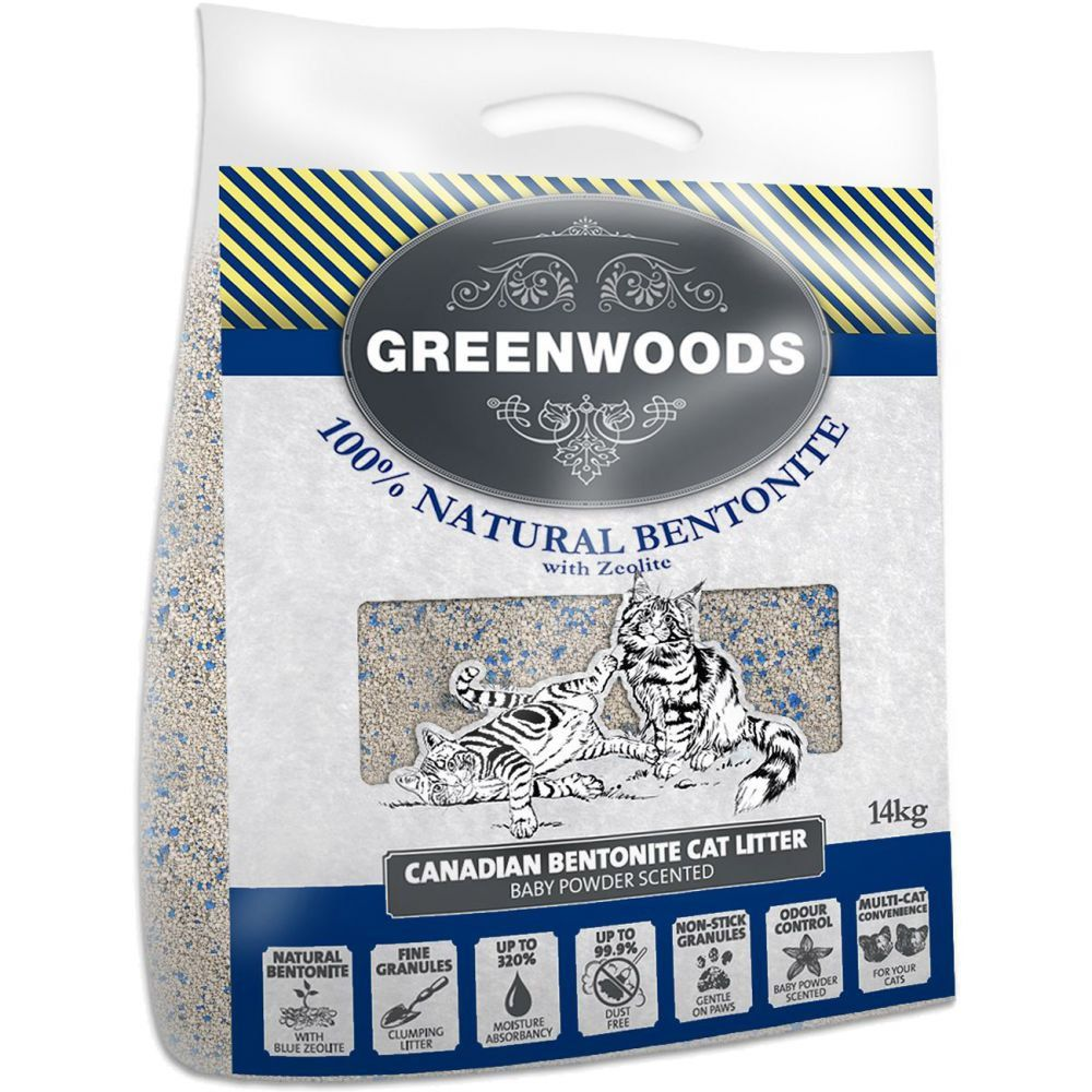 Greenwoods Natural Clay Clumping Cat Litter with Zeolite - 14kg