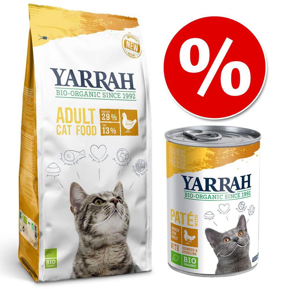 Blandpack: 10 kg Yarrah Organic + 18 x 400 g våtfoder - Kyckling + 18 x 400 g Kyckling Paté