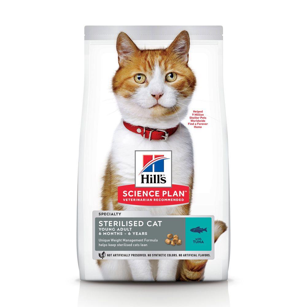 10kg Sterilised Cat Young Adult Hills Feline Croquettes pour chat au thon