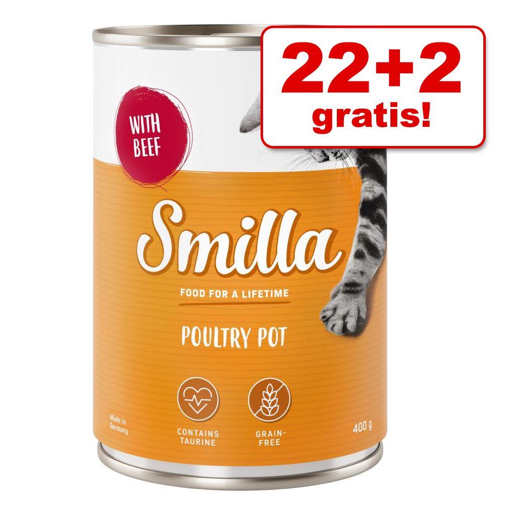 22 + 2 på köpet! 24 x 400 g Smilla Pot våtfoder Poultry Pot Fjäderfäkött med fjäderfähjärtan