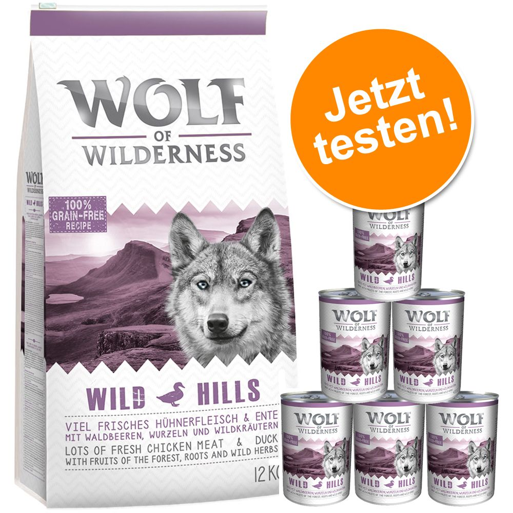 12 kg Wolf of Wilderness + 6 x 400 g / 6 x 800 g Nassfutter – Variante 3