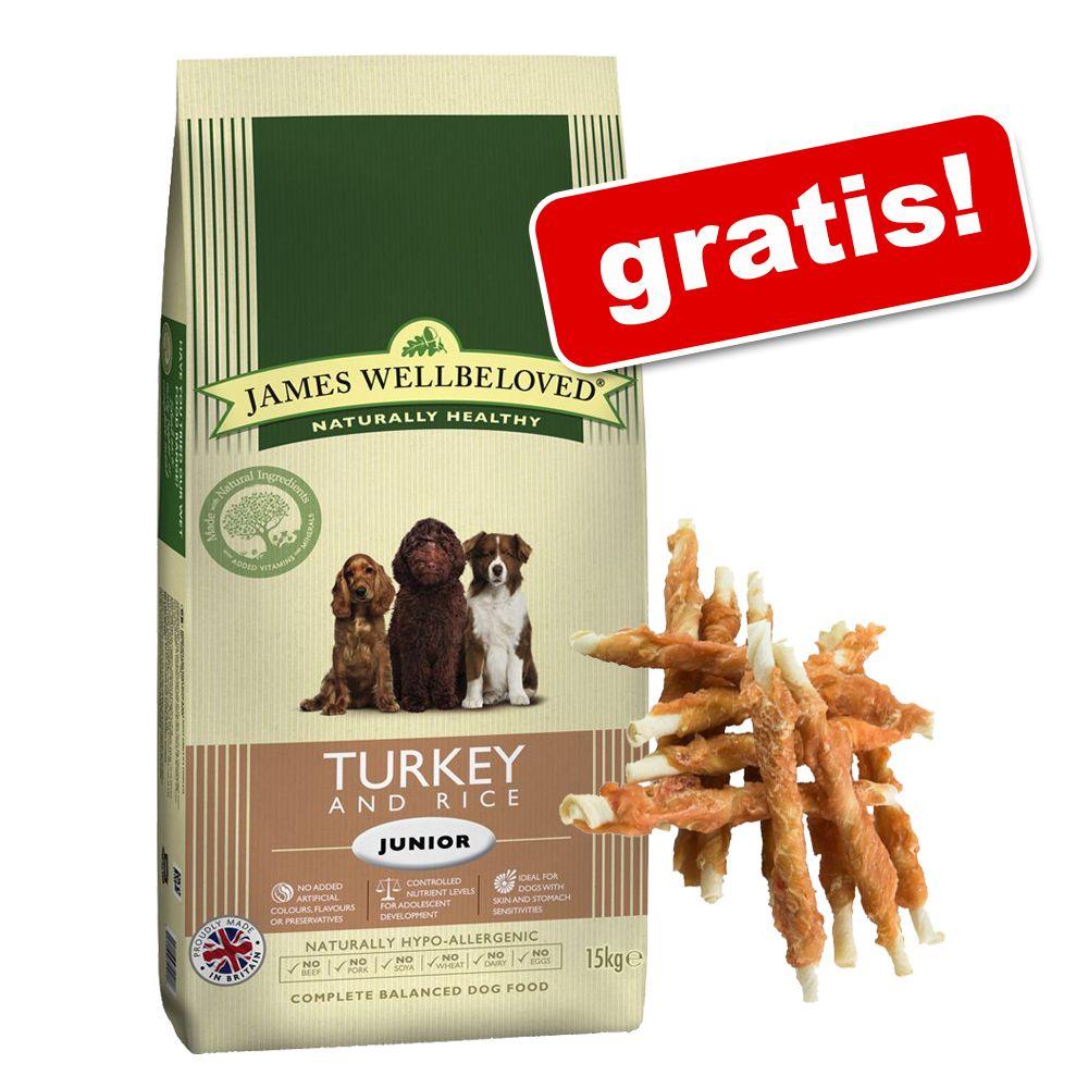 Stor påse James Wellbeloved + 200 g Dokas tuggrullar på köpet! - Junior Turkey & Rice (15 kg)