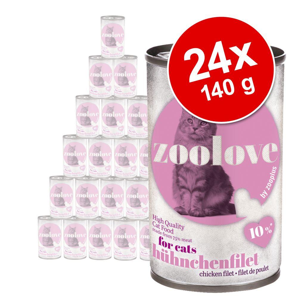 Ekonomipack: zoolove våtfoder för katter 24 x 140 g - Kyckling