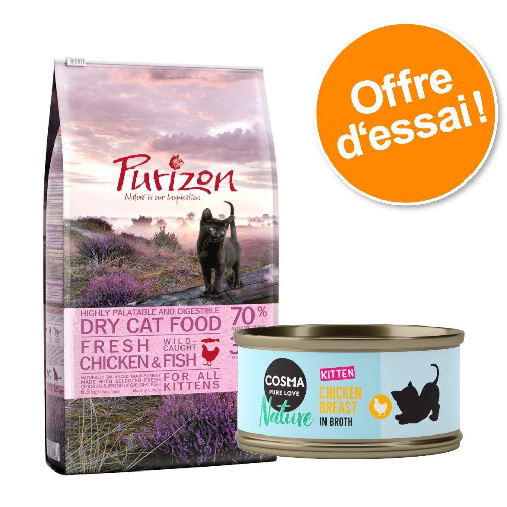 Offre découverte chaton Purizon 400 g & Cosma Nature 6 x 70 g - lot 1 : poulet