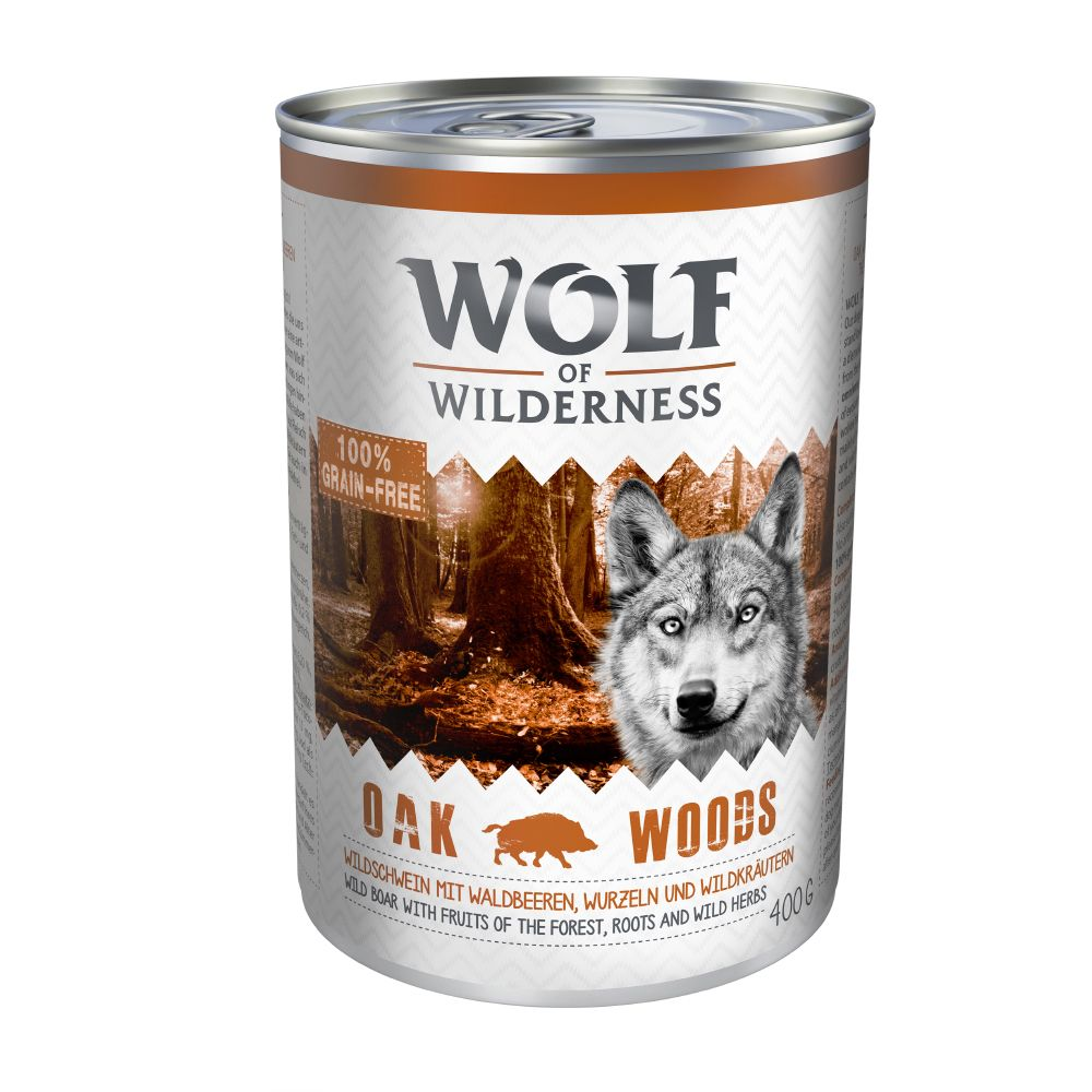 Wolf of Wilderness Adult 6 x 400g - Oak Woods - Wild Boar
