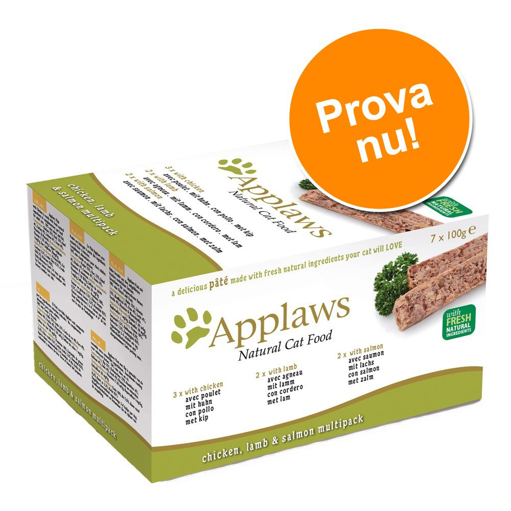 Applaws Cat Paté provpack 7 x 100 g – spannmålsfritt – Kalkon Nötkött & Havsfisk