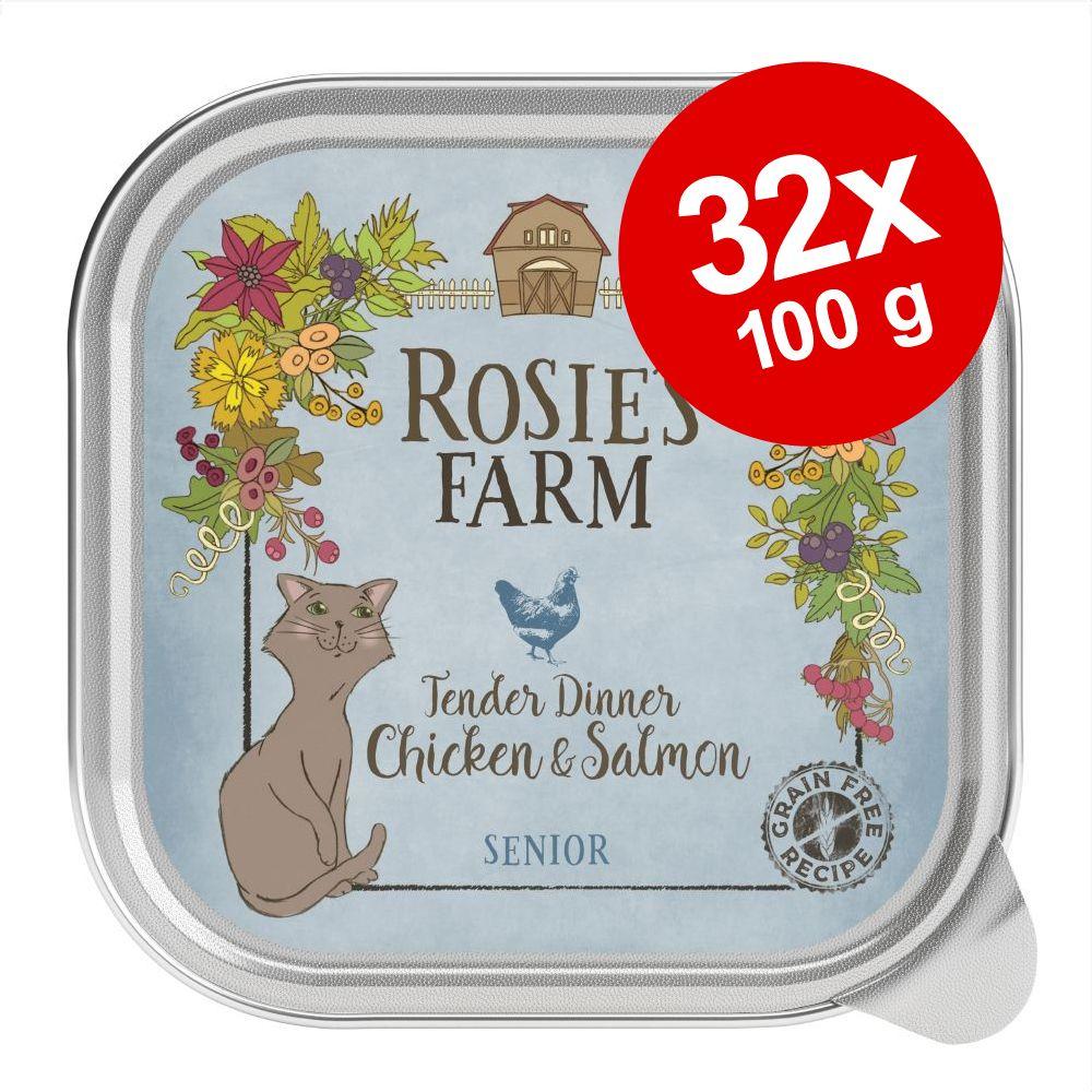 Ekonomipack: Rosie's Farm Senior 32 x 100 g - Senior: Kyckling & lax
