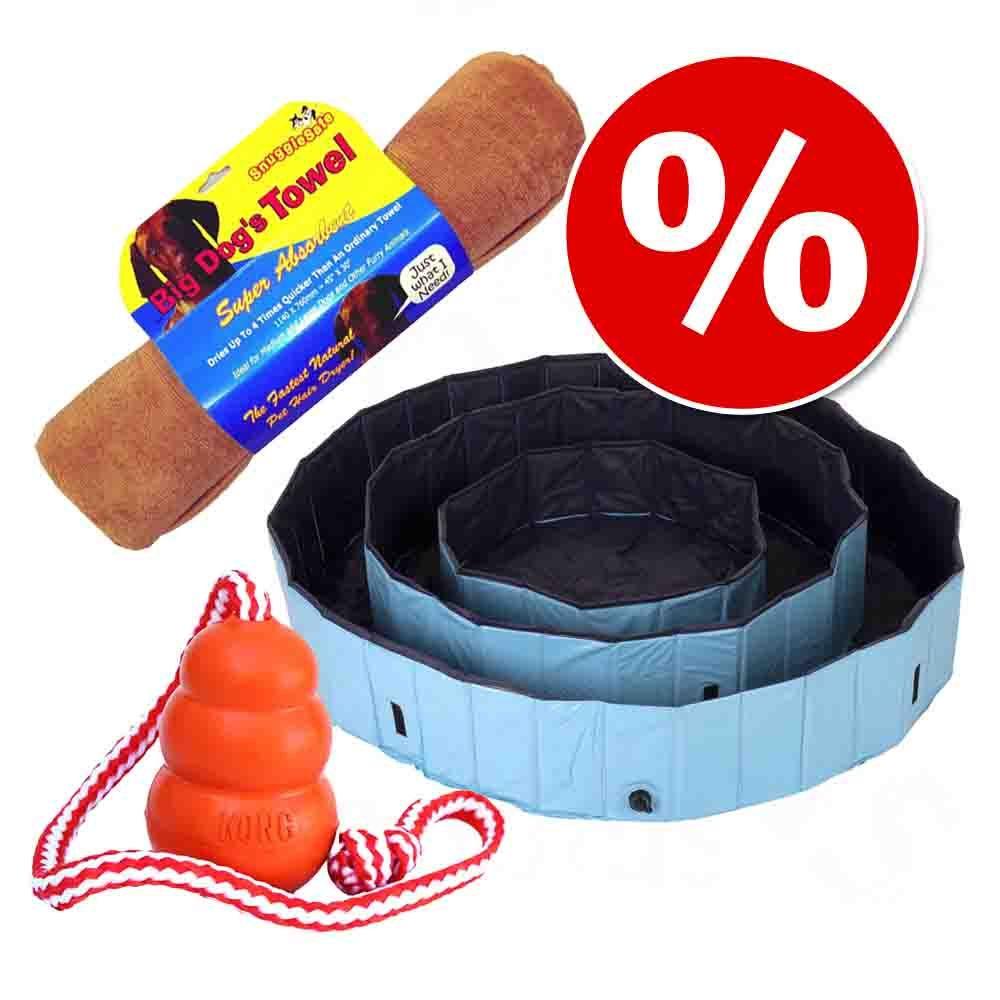 Image of Set Piscina con copertura + Asciugamano + KONG Acqua - Piscina Ø 80 x H 20 cm + Asciugamano + Kong