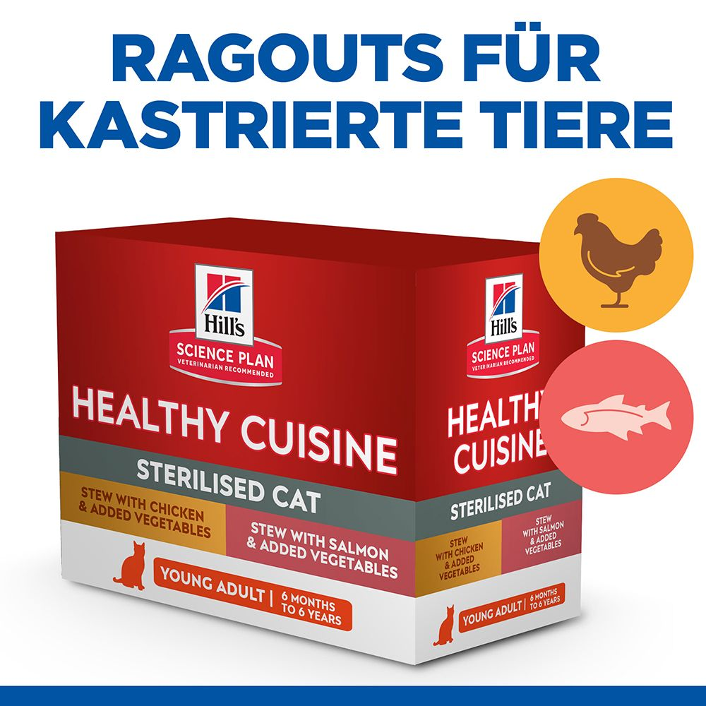 Hill's Science Plan Young Adult Sterilised Healthy Cuisine mit Huhn & Lachs - 16 x 80 g