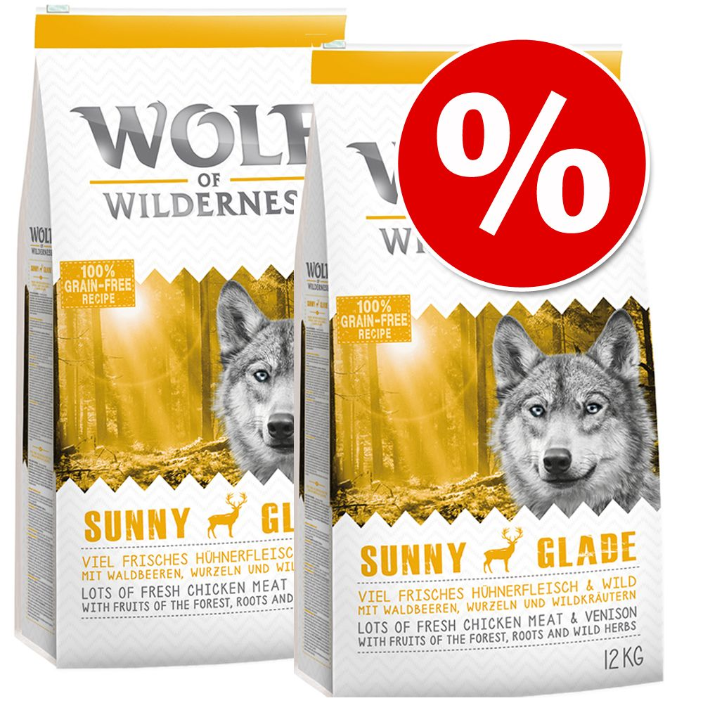 Dwupak Wolf of Wilderness, 2 x 12 kg - Adult Green Fields, jagnięcina