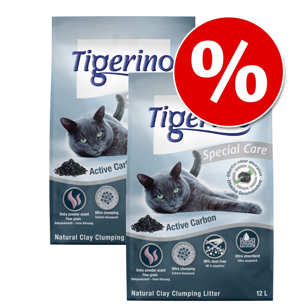 2 x 12 l till sparpris! Tigerino Special Care kattströ - White Intense Blue Signal
