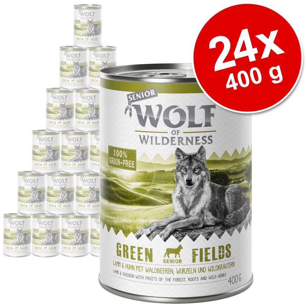 Ekonomipack: Wolf of Wilderness Senior 24 x 400 g - Wild Hills - Duck & Veal