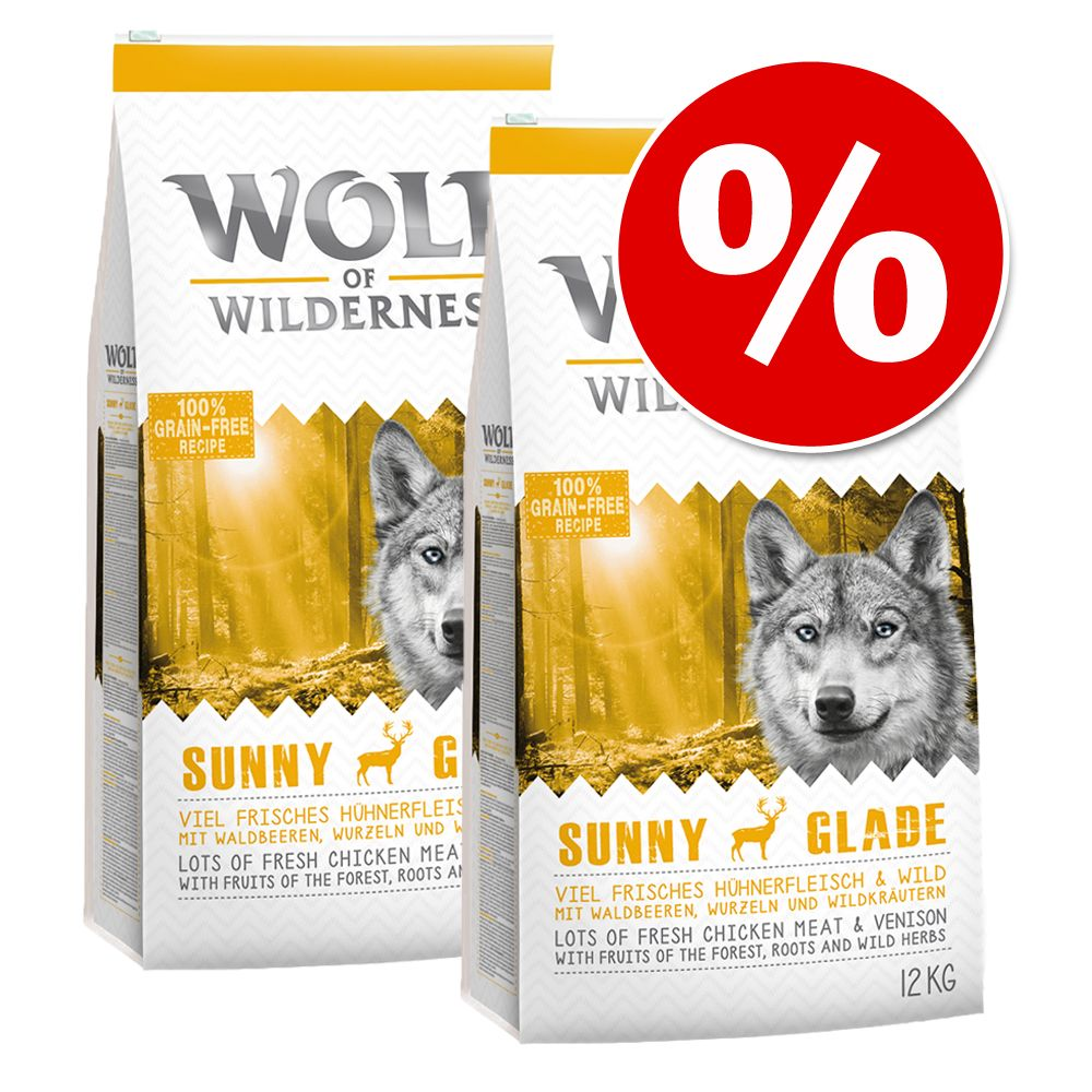 Ekonomipack: 2 x 12 kg Wolf of Wilderness hundmat - The Taste of Mediterranean