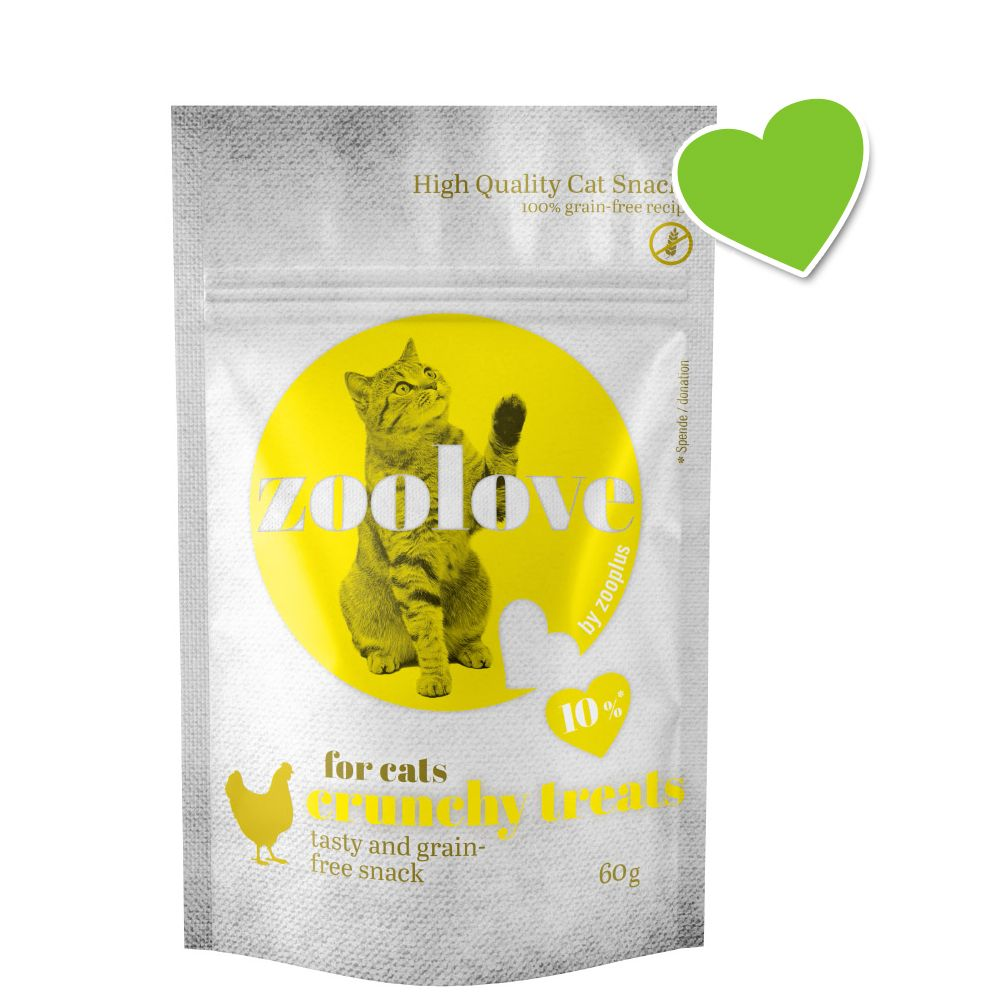 zoolove crunchy treats med kyckling - Ekonomipack: 6 x 60 g