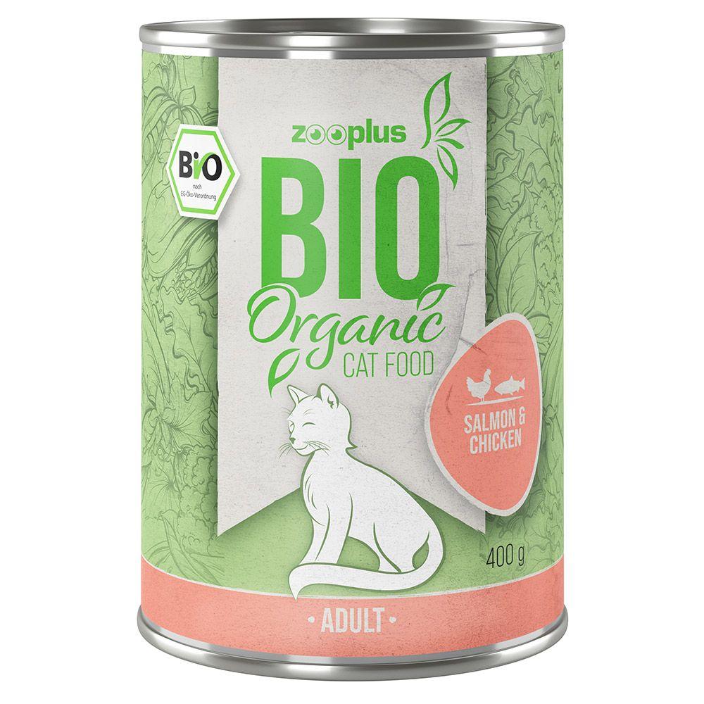 Lot zooplus Bio saumon, poulet 12 x 85 g/ 400 g 12 x 400 g