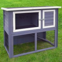 Outback Hutch Compact Grey with Run - 104 x 52 x 92 cm (L x W x H)