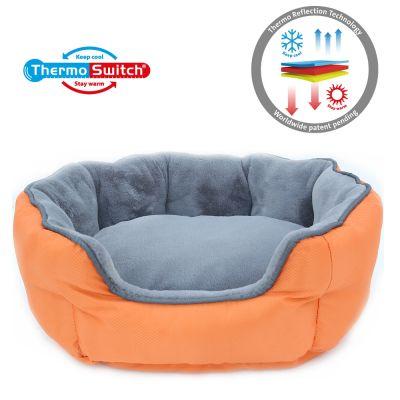 ThermoSwitch® Memory-Foam Santorini -koiranpeti, oranssi-harmaa - S: P 45 x L 38 x K 20 cm