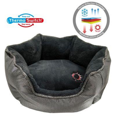 ThermoSwitch® Memory Foam Santorini -koiranpeti, hopea-harmaa - M: P 60 x L 50 x K 20 cm